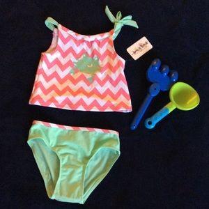 5T Girl's Kid's 2 piece crab swim wear